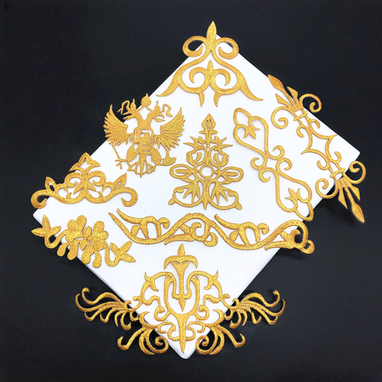 10Pcs Gold Retro Iron On Appliques In Garments Steamers Clothing Embroidery Patch Fabric Sticker Iron On Patch Craft Sewing