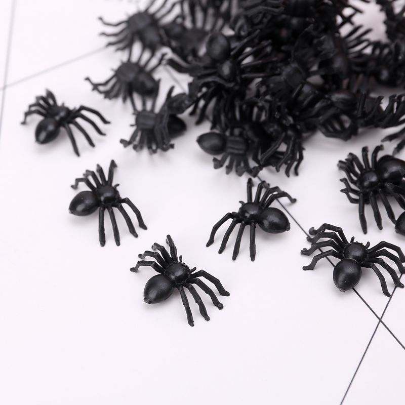 50Pcs Small Black Plastic Fake Spider Toys Funny Joke Prank Props Halloween Decor Indoor Outdoor QX2D