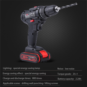 Image 3 - 36VF 1600rpm 50Nm 25 speed Torque Double Speed Cordless Electric Drill Screwdriver With LED lighting And drill bit