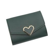 Women Wallet's 2019 New Women's Short Wallet Heart-Shaped Tri-Fold Girl Clutch Multi-Card Positioncard Package Female Coin Purse недорого