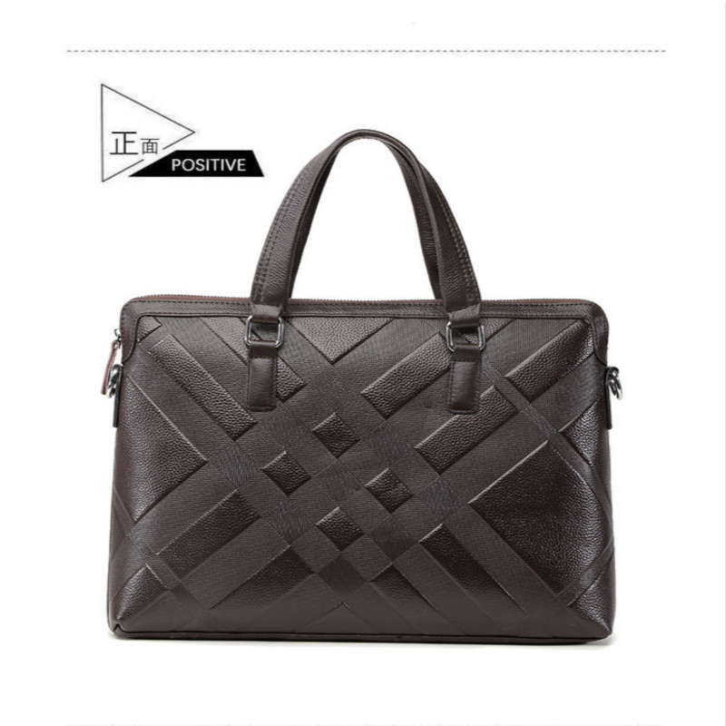 1PCS Leather Men's Handbags Casual Men's Business Documents Baotou Leather Shoulder Bag Messenger Bag