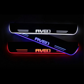 AOGENIU Flowing LED Door Sill Welcome Pedal For CHEVROLET AVEO T300 2011-2020 Scuff Plate Protector Trim Car Sticker Accessory for car sticker hyundai santafe 2019 accessories stlyling staninless steel door sill protector welcome pedal scuff plate trim