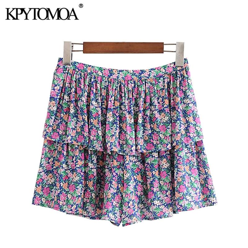 KPYTOMOA Women 2020 Chic Fashion Floral Print Ruffled Shorts Vintage High Waist Side Zipper Female Short Pants Pantalones Cortos