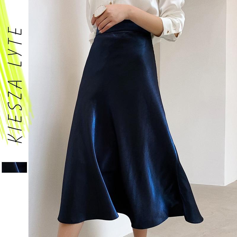Elegant Women Satin Skirt 2020 Summer High Waist Midi Shiny Silk Imitation Metallic Blue Party  A Line Skirts Bottoms