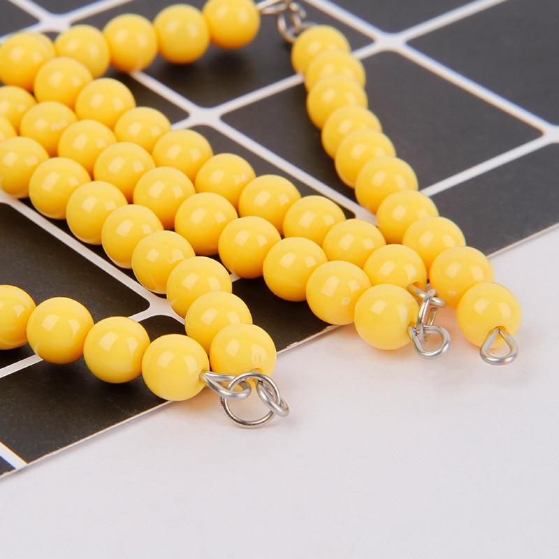 Montessori Mathematics Teaching Aids Educational Toy 100 Yellow Beaded Bracelet Kindergarten Early Educational Teaching Aid Bead