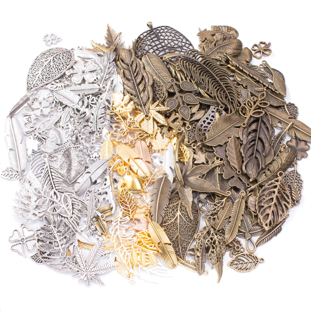 50g 100g Metal Leaf Mixed Charms Pendants Antique Bronze Bracelets Necklaces DIY Accessories For Wholesale Craft Jewelry Making