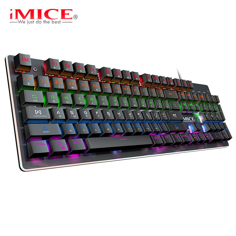 Mechanical Keyboard Wired Gaming Keyboard 104/87 Keycaps Russian Gamer Keyboard With Backlight RGB Key Board For Computer PC
