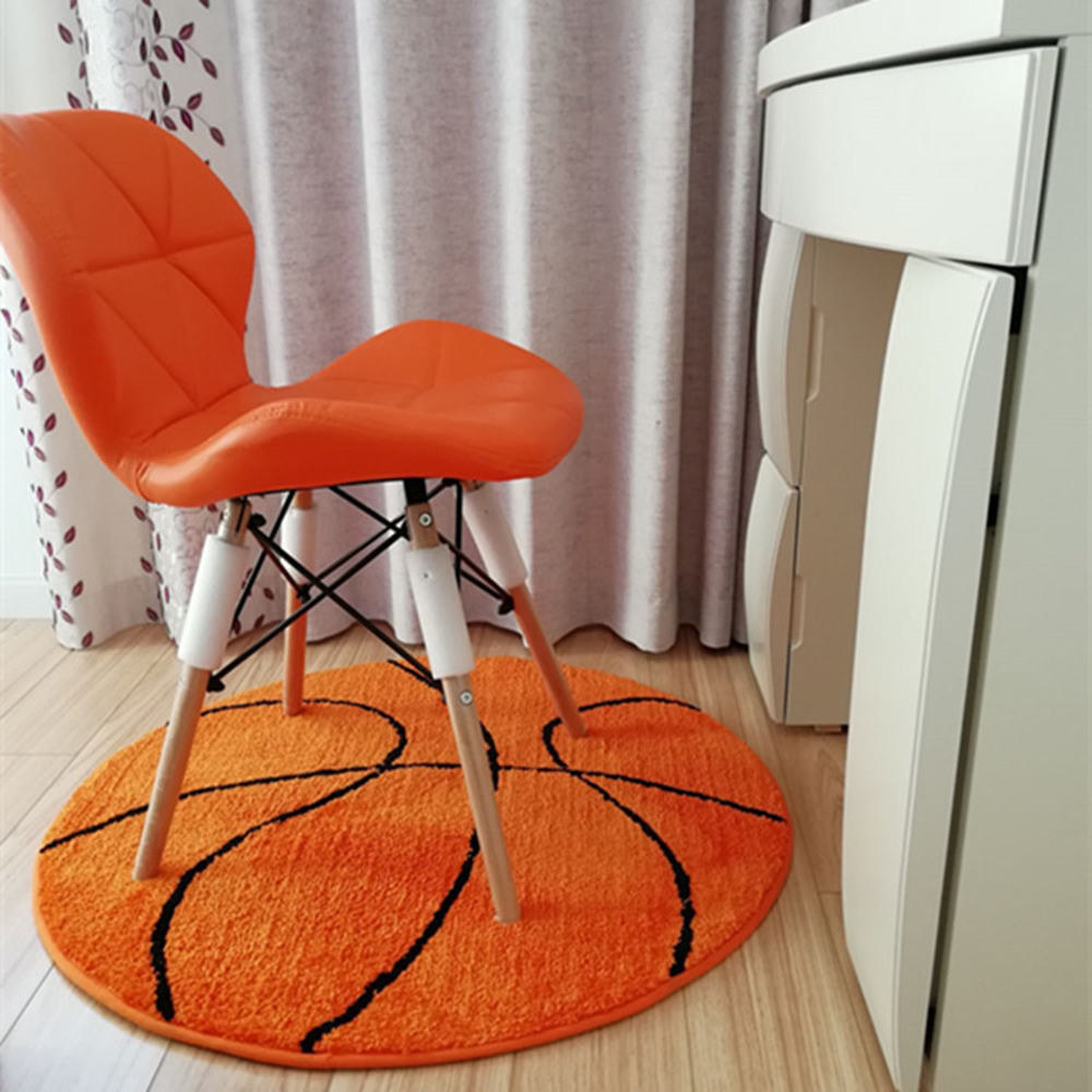Polyester Anti Slip Ball Round Fluffy Carpet Computer Chair Pad Football Basketball Living Room Mat Children Bedroom Rugs