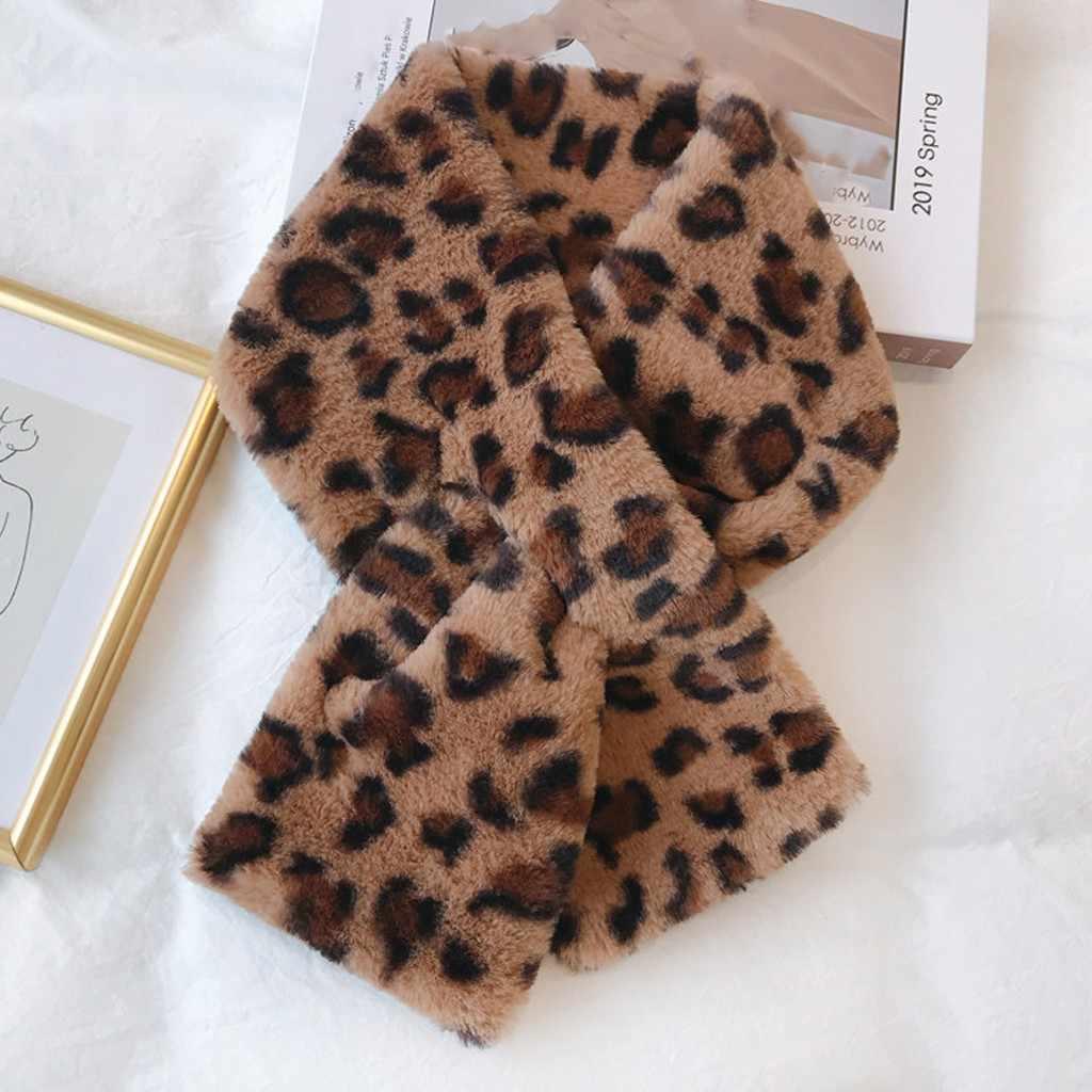 Delle donne di Modo di Inverno della Pelliccia Del Faux Villi Tuta Sportiva Sciarpa Sciarpa della Stampa Del Leopardo Caldo di Lusso di Marca di protezione Dello Scaldino del Collo Sciarpe Invierno Mujer