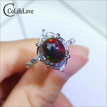 CoLife Jewelry 925 Silver Black Opal Ring for Daily Wear 7*9mm Dyed Natural Opal