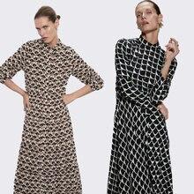 Женское длинное расклешенное платье za элегантное с длинным