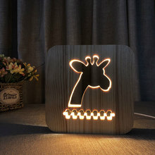Cute giraffe LED night light solid wood pine carved hollow table lamp creative USB bedroom decorative mood best gift