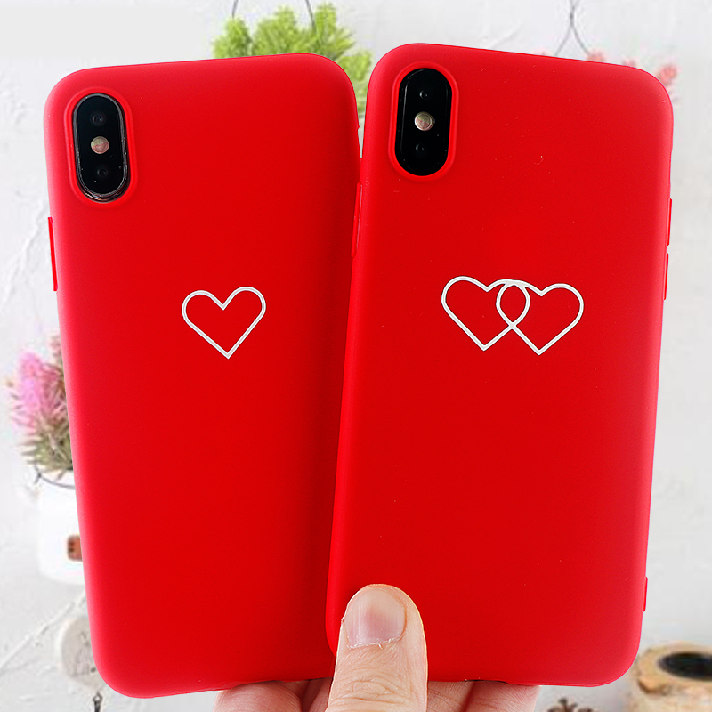 Fashion Cell Phone Cases for IPhone11 8 7 6 s Plus Pro X XS MAX XR Case Red Heart Soft Silicone Fitted Back Covers Accessories image
