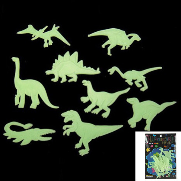 JIMITU 9Pcs Glow In The Dark Dinosaurs Toys Stickers Ceiling Decal For Baby Kid Room
