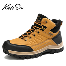 2020 Fashion Winter Mens Leather Plush Warm Snow Boots Outdoor Waterproof Hiking Ankle Boots Casual Working Boots Big Size 47