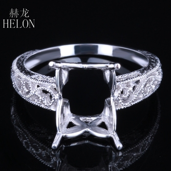 HELON Real 10K White Gold 10X8mm Emerald & Cushion Cut Semi Mount Engagement Wedding Women Vintage Trendy Fine Jewelry Ring Gift image