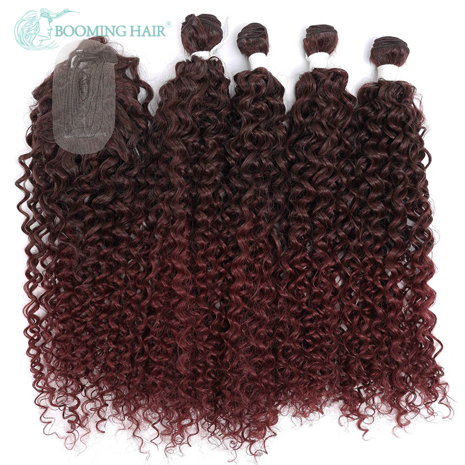 Synthetic Water Wave Hair Bundles With Closure Deep Wave Extensions 20