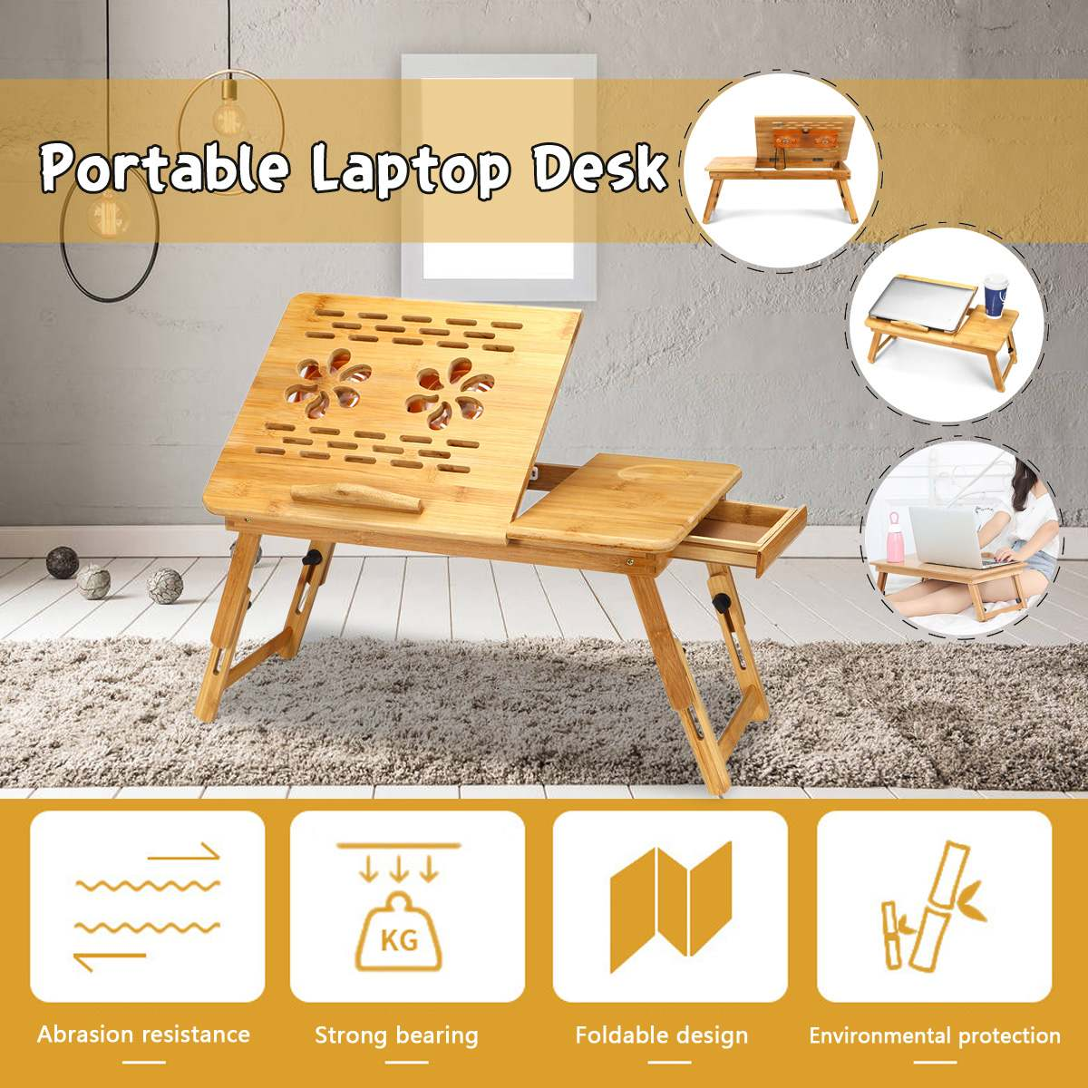 Portable Folding Bamboo Laptop Table Sofa Bed Office Laptop Stand Desk With Cooling Fan Bed Table For Computer Notebook Books|Laptop Desks| |  -