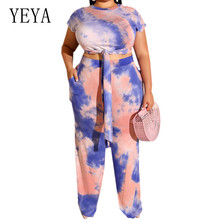 YEYA Womens Tight-fitting Umbilical Tie-dye Playsuits Large Size 4XL 5XL Summer O Neck Short Sleeve Casual Two Pieces Jumpsuits
