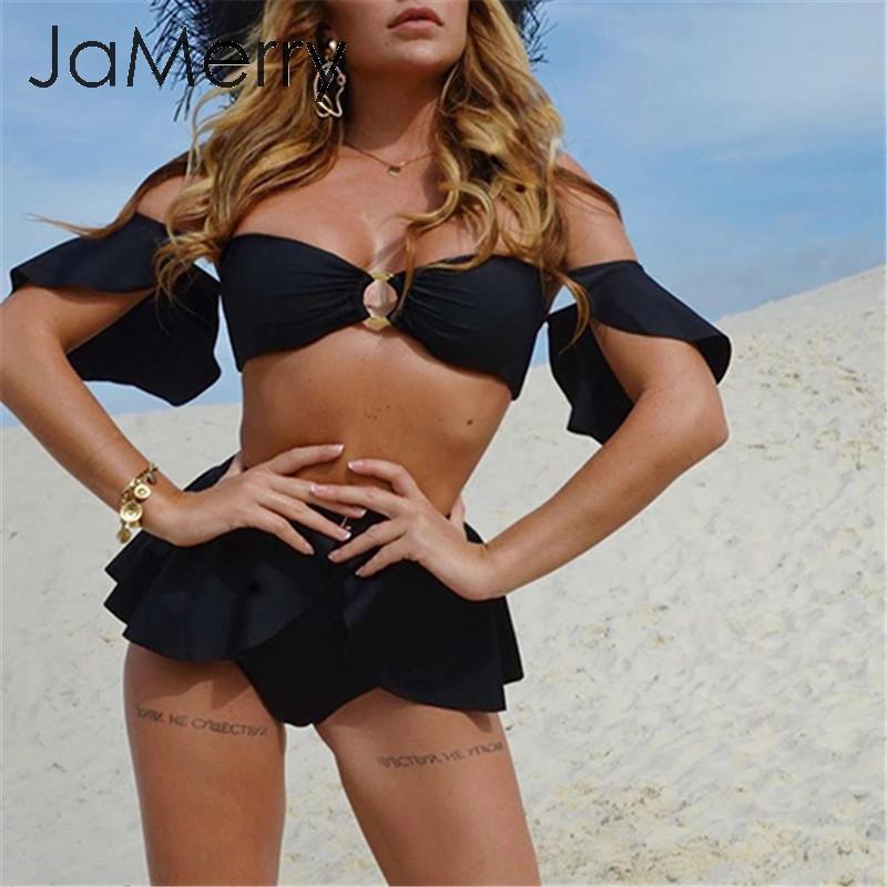 JaMerry High Waist Bikini Mujer Off Shoulder Swimwear Female Push Up Bathing Suit Sexy Ring Swimsuit Women Ruffle Bikini Set New