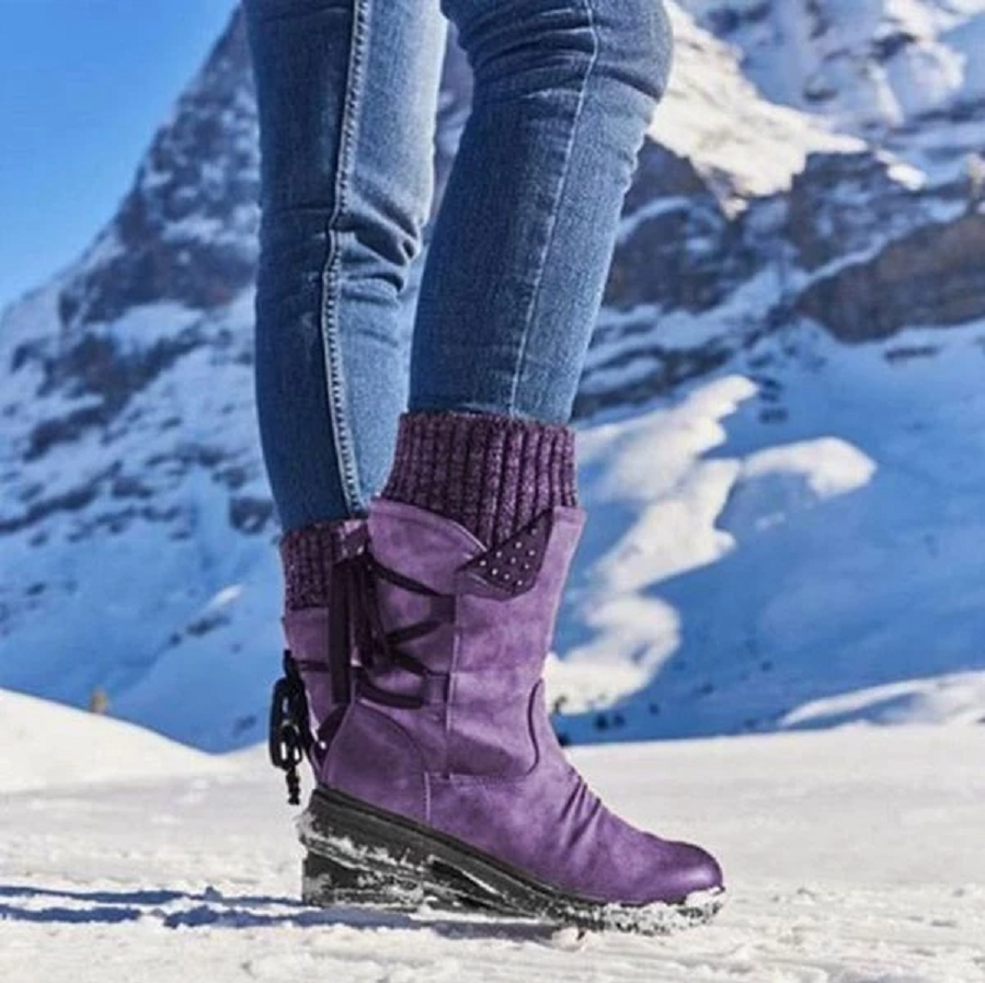 Lowest Price with Best Quality and Free Gift - Women Boots winter autumn girls Flat Heel Boot Fashion Knitting Patchwork shoes 5
