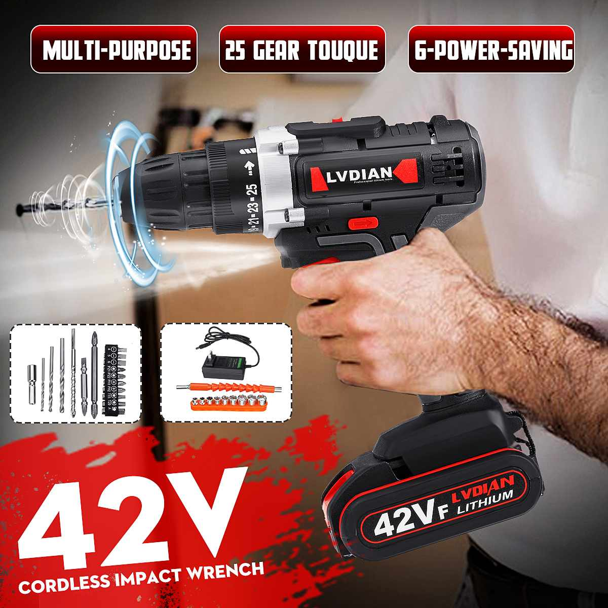 42V Cordless Drill Electric Drill Wireless Power Driver Lithium-Ion Battery Screwdriver Drilling Machine 25 Stage W/ LED Light