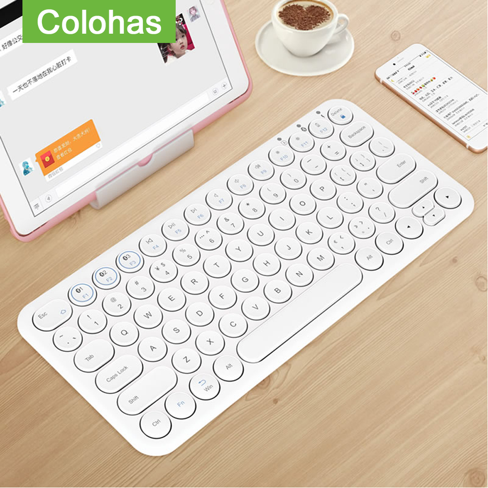 Round Keycap Bluetooth Keyboard Wireless Silent Gaming Keyboard For Macbook Pro iPhone iPad Tablet Ultra-slim Computer Keyboard(China)