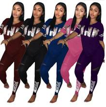 Letter print Pink fashion Suit Set 2020 Women Tracksuit Two-piece Sport Style Outfit Jogging Sweatshirt Fitness Lounge Sportwear(China)