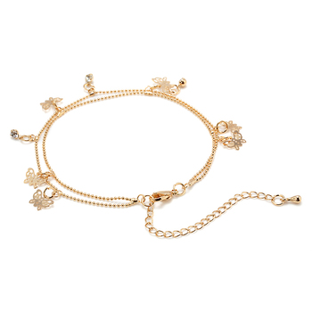 2019 Women Beach Gold Butterfly Pendant Ankle Chain Anklet Bracelet Double Deck Foot Chain Tassel Jewelry Ankle bohemian ankle 1