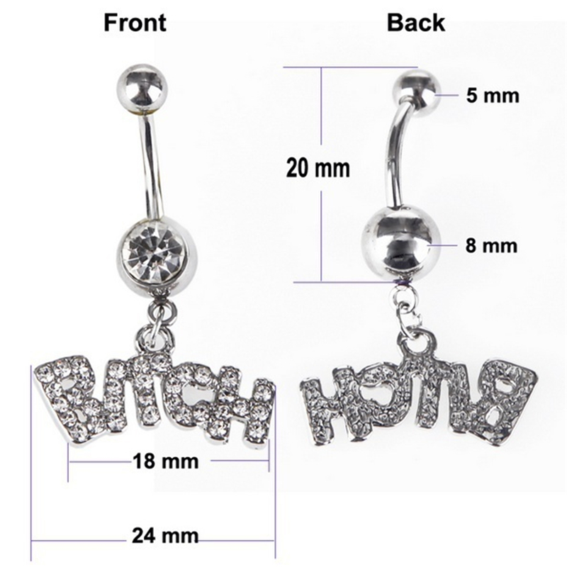 1pc 14g Letter quot Bitch quot Body Navel Ring Piercing Belly Bar Button Barbell stainless steel navel button Czech drill body jewelry