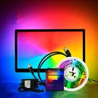 Tira de luces LED direccionable, 1/2/3/4/5m, para TV, PC, Dream Screen, USB, HDTV, Monitor de ordenador de escritorio, DC5V, WS2812B