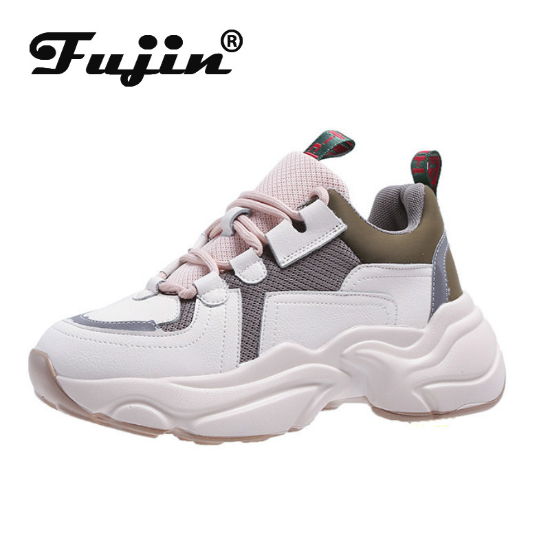 Fujin Sneakers Women Spring Autumn Fashion Thick Bottom Dropshipping Breathable Waterproof Platform Lace Leisure Women Shoes