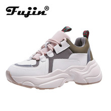 Fujin Sneakers Women Spring Autumn Fashion Thick Bottom Dropshipping Breathable Waterproof Platform Lace Leisure Shoes