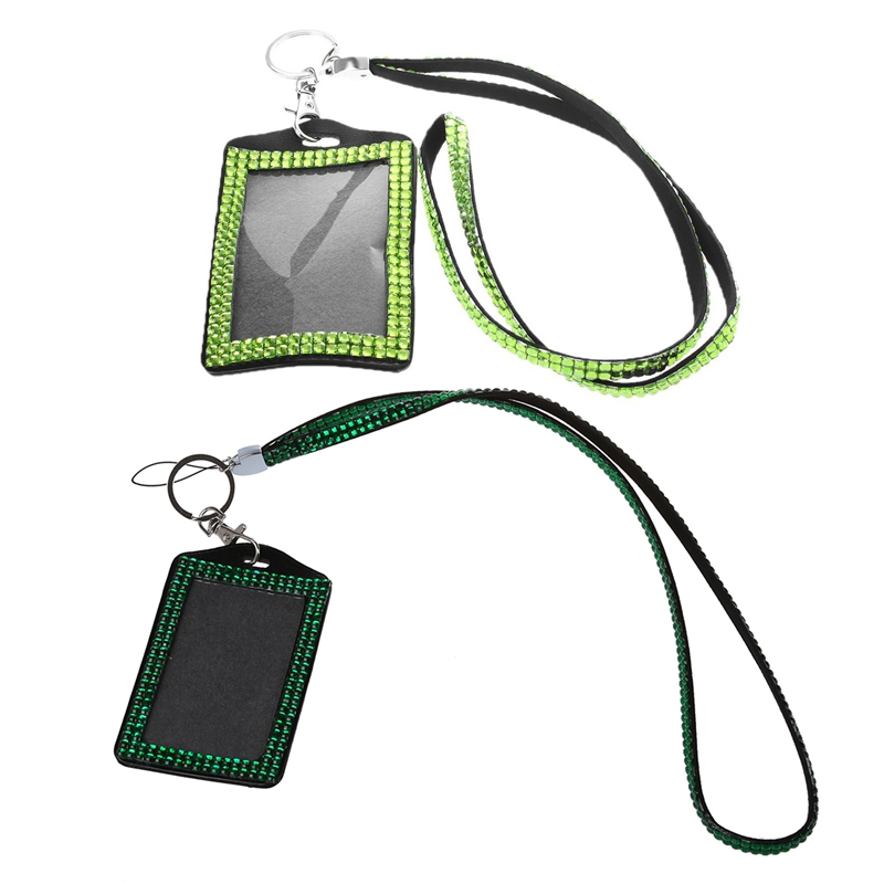 2 Pcs Rhinestone Bling Crystal Custom Lanyard Vertical ID Badge Holder (Dark Green & Light Green)