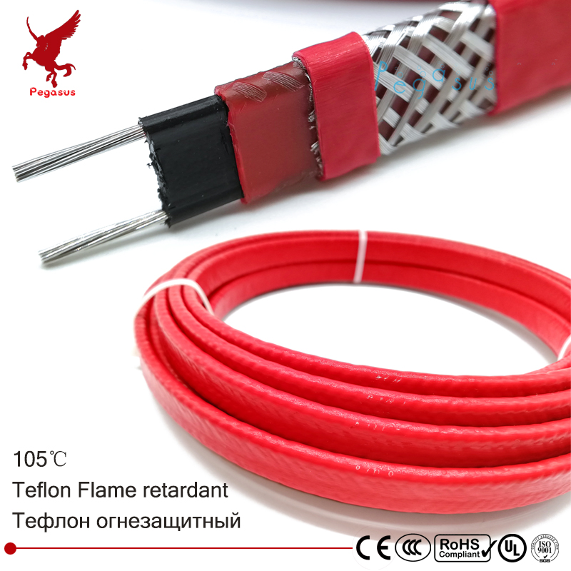 100m 220V Teflon Flame retardant heating cable 14mm Self regulat temperature Water pipe protection Roof deicing heating cable