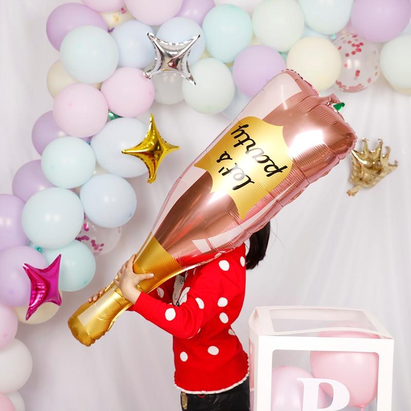 1pc Rose Gold Let's party Bottle Wine Mylar Balloons DIY Party Decoration Kit Valentine's Day Bridal Shower Wedding Bachelorette