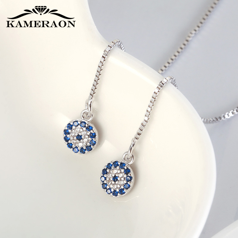 KAMERAON Long Chain Blue Evil Eyes Pendant Earrings 100% 925 Sterling Silver Cubic Zircon Tassel perforation Women Jewelry E0922