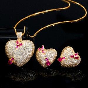 Image 4 - Pera en kaliteli mikro açacağı CZ 585 altın romantik aşk kalp şekli küpe kolye takı setleri bayanlar için yıldönümü hediyesi J302