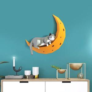 Image 2 - 3D Cat On Moon Animal Paper Wall Art Sculpture Model Toy Home Decor Living Room Decor DIY Paper Craft Model Party Gift