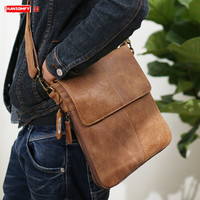 Scrub Leather Men's Shoulder Slung Bag Genuine Leather Casual Men Bag Retro Tide Messenger Crossbody Bags Brown Soft 2020
