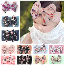 Nishine Elastic Printed Flower Kids Headband Newborn Infant Toddler Knot Bows Headwraps Baby Girls Headwear Gifts Photo Props