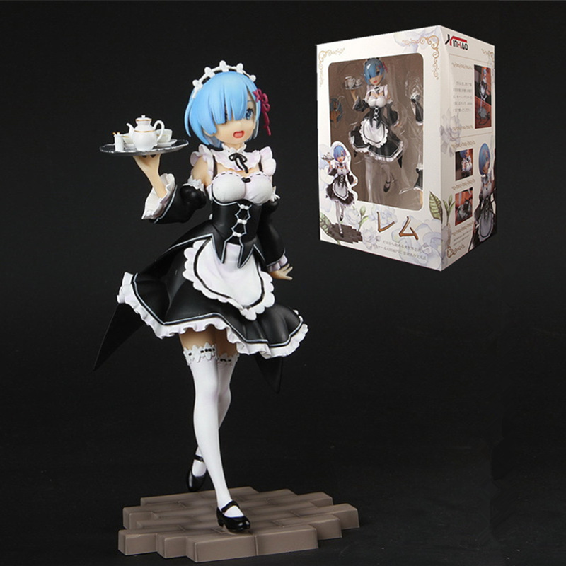 20CM Anime Re:Life In A Different World From Zero Rem Figure Face Change Maid Outfit Tray Meteor Hammer Rem Action Figure Model
