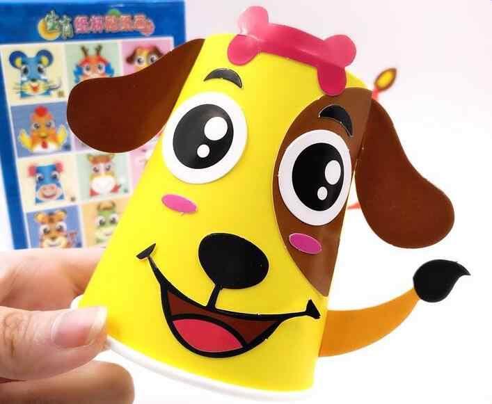 12pcs/set Kids Animals DIY handmade paper cups sticker material kit Children kindergarten school art craft Educational toys ZXH