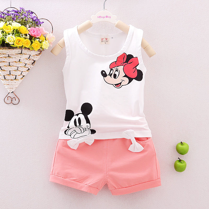 Summer Toddlers Kids Baby Girls Clothes Minie  T-shirt Tops  Shorts Pants 2pcs Outfits Set Clothing For 1 5Years Children