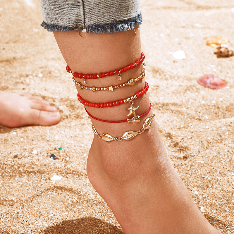 5Pcs Bohemian Beaded Ankle Bracelets Set Multilayer Fish Shell Charm Red Theme Bracelets Women Anklet Foot Jewelry Gift