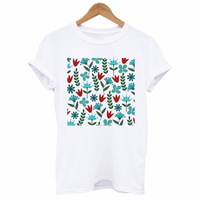 LUO YI New Summer Top White Bottoming Shirt Casual Short Sleeve Women's Flower Pattern Model 60.99
