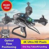 Dron teledirigido con cámara Dual 4K, WIFI, FPV, posicionamiento de flujo óptico, Control por aplicación, 3D, acrobático, cuadricóptero con 3 uds. De batería, juguetes de regalo