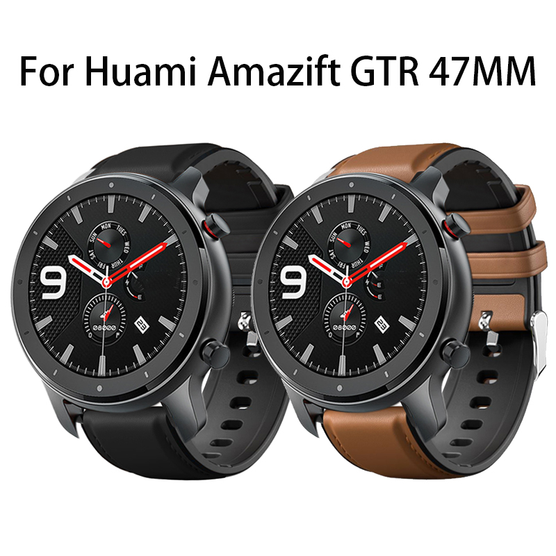 Leather + Silicone Watchband For Amazfit GTR 47mm Smart Watch Band  Wrist Strap For Xiaomi Huami Amazfit Pace/Stratos 2 2S Band
