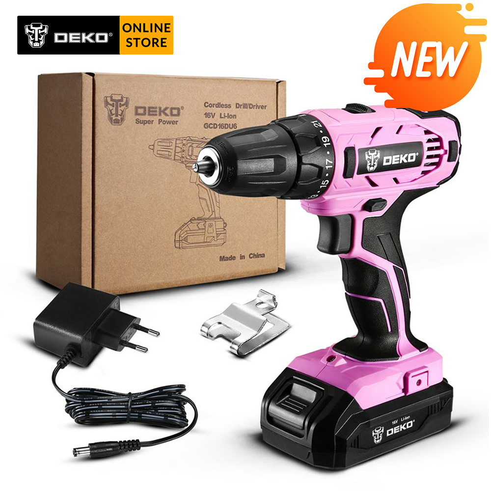 DEKO GCD16DU6 <font><b>16V</b></font> Max Electric Screwdriver Cordless Drill Mini Wireless Power Driver DC Lithium-Ion <font><b>Battery</b></font> 2-Speed image