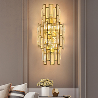 Youlaike Modern Crystal Wall Sconce Lamp Gold LED Wall Lighting Fixtures Bedside Living Room Bedroom LED Wall crystal Lamps